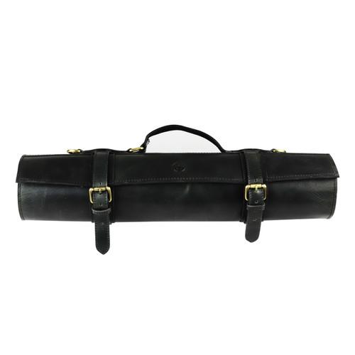 Black Leather 10 Slots Knife Roll Bag