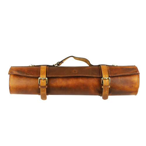 Caramel Leather 10 Slots Knife Roll Bag