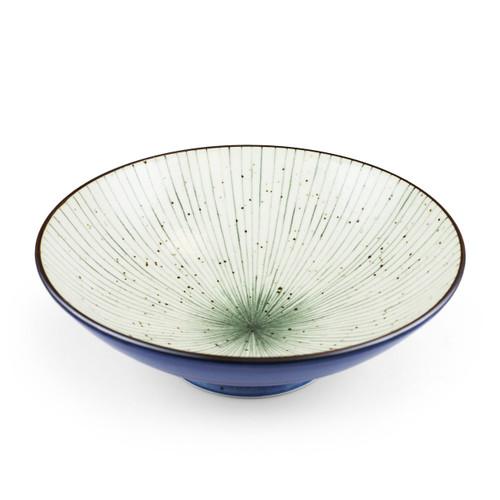 """[NEW] Tokusa Blue Lined Interior Serving Bowl 52 fl oz / 9.7"""" dia"""