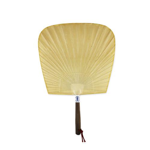 "Beige Shibu Uchiwa Fan with Wooden Handle 9.8"" x 14.4"""