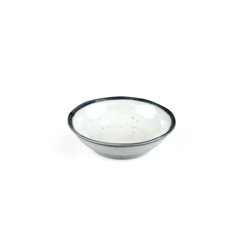 "[NEW] Shirokinyo Ivory Speckled Soy Sauce Dish with Indigo Rim 3.94"" dia"