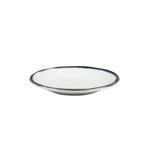"[NEW] Shirokinyo Ivory Speckled Side Plate with Indigo Rim 5.63"" dia"