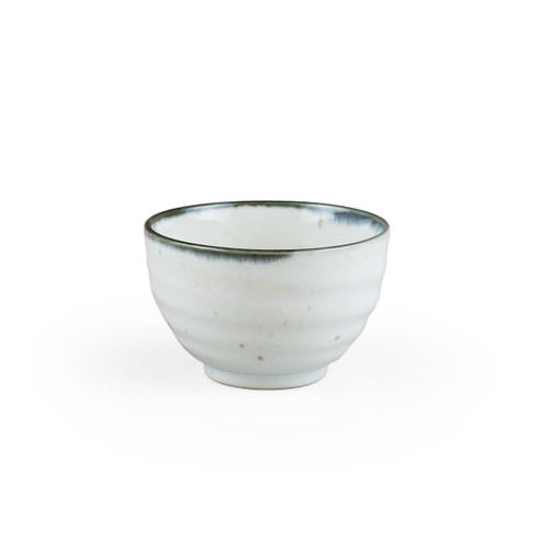 "[NEW] Shirokinyo Ivory Speckled Small Bowl with Indigo Rim 11 fl oz / 4.25"" dia"