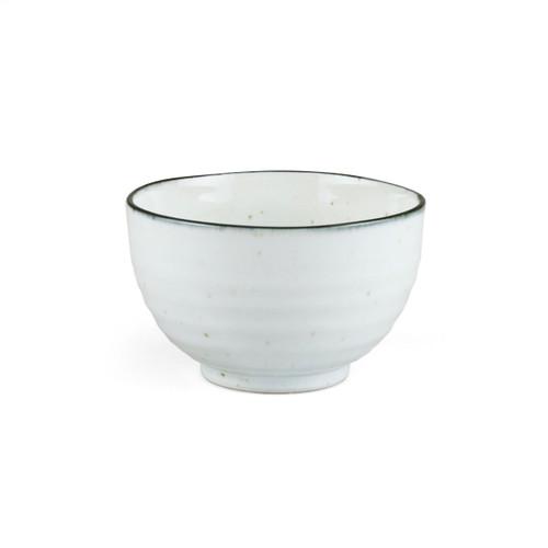 "[NEW] Shirokinyo Ivory Speckled Donburi Bowl with Indigo Rim 20 fl oz / 5.08"" dia"