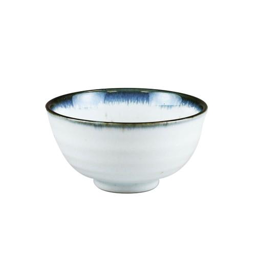 "[NEW] Shirokinyo Ivory Speckled Rice Bowl with Indigo Rim 13.5 fl oz / 4.96"" dia"