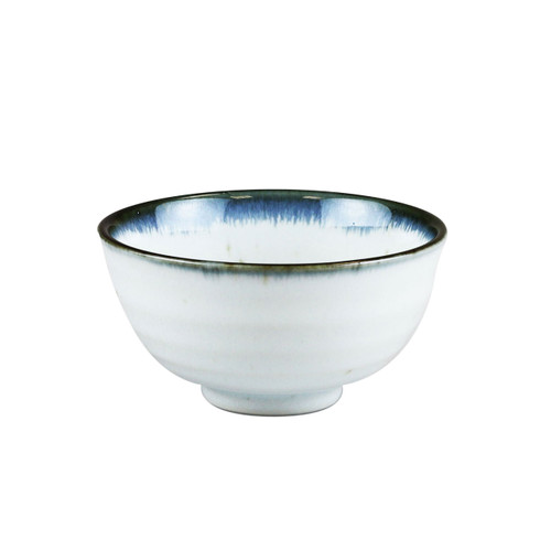 "[NEW] Shirokinyo Ivory Speckled Rice Bowl with Indigo Rim 13.5 fl oz / 4.96"" dia"