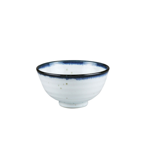 "[NEW] Shirokinyo Ivory Speckled Rice Bowl with Indigo Rim 9.5 fl oz / 4.45"" dia"