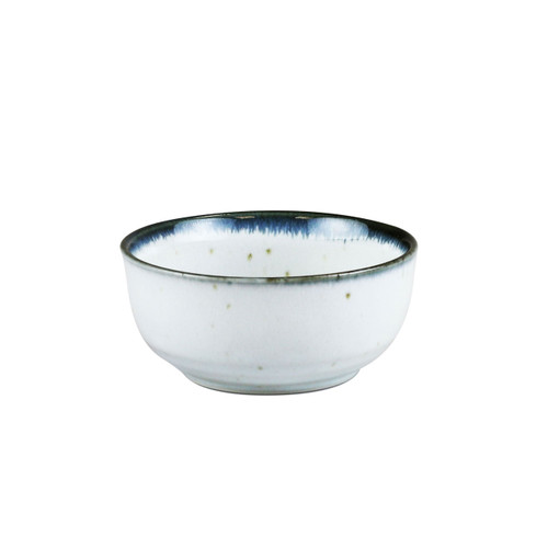 "[NEW] Shirokinyo Ivory Speckled Kobachi Bowl with Indigo Rim 9 fl oz / 4.36"" dia"