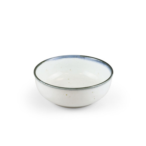 "[NEW] Shirokinyo Ivory Speckled Salad Bowl with Indigo Rim 15.5 fl oz / 5.28"" dia"