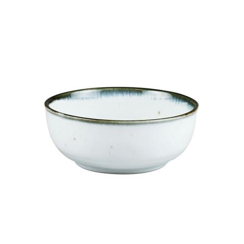 """[NEW] Shirokinyo Ivory Speckled Salad Bowl with Indigo Rim 27.5 fl oz / 6.45"""" dia"""
