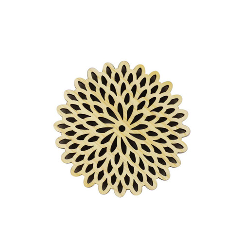 Hinoki (Japanese Cypress) Coaster Chrysanthemum Flowers