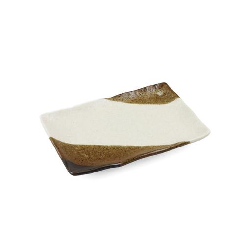 "[NEW] Shinsaiun Ivory x Brown Matte Rectangular Plate 6.6"" x 4.4"""