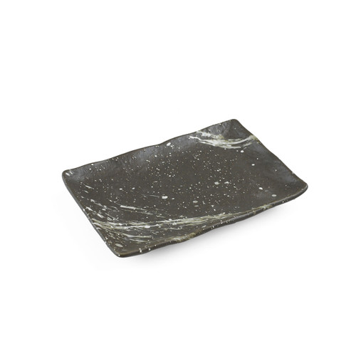 "Fubuki Charcoal Gray & White Splashed Matte Rectangular Plate 6.6"" x 4.4"""