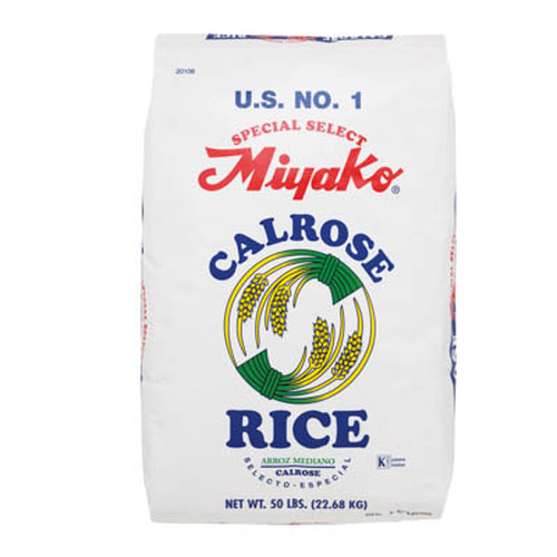 Miyako Calrose Medium Grain White Rice 22.68 kg (50 lbs)