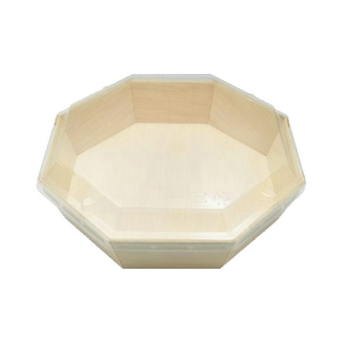 "Lids for Wooden Octagon Takeout Bento Box 6.89"" x 6.89"" #87904 (25/pack)"