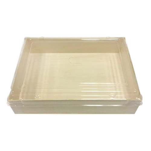 """Wooden Rectangular Takeout Bento Box 7.68"""" x 5.71"""" (50/pack) - No Lid"""