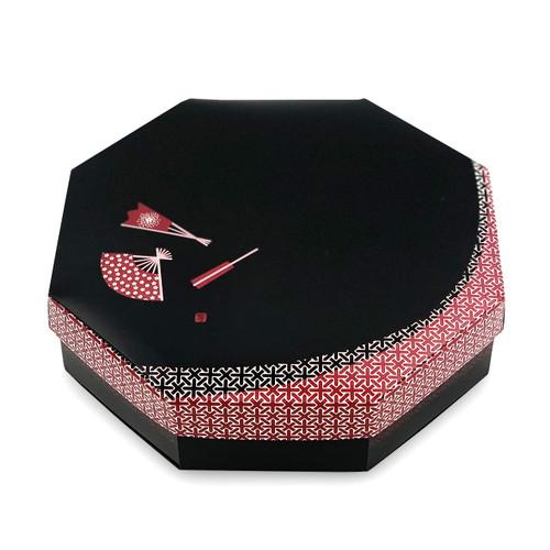 """Oribe Paper Octagon Takeout Bento Box Black Sensu 8.25"""" x 8.25"""" (200/case) - No Inner Compartment"""
