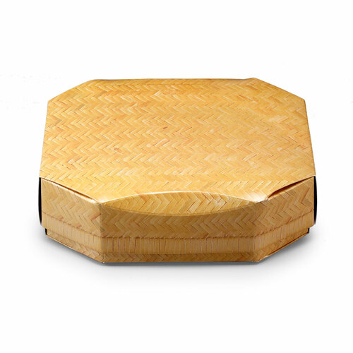 """Oribe Woven Printed Paper Octagon Takeout Bento Box 7.2"""" x 6"""" (200/case) - No Inner Compartment"""