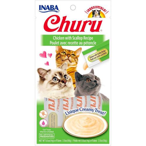 [NEW] Inaba Churu Chicken with Scallop Puree Cat Treats 4pcs x 0.5 oz