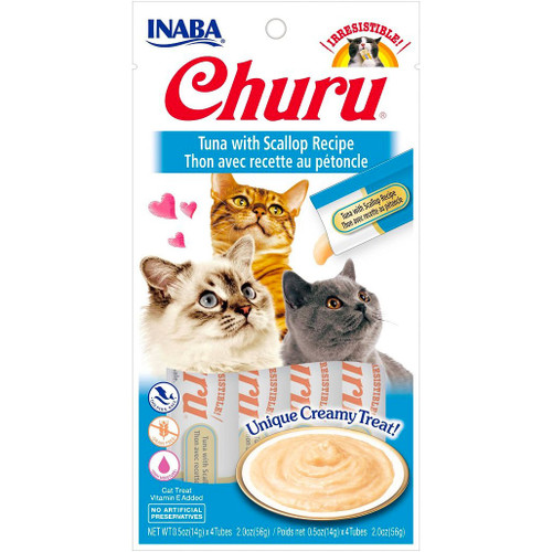 [NEW] Inaba Churu Tuna with Scallop Puree Cat Treats 4pcs x 0.5 oz