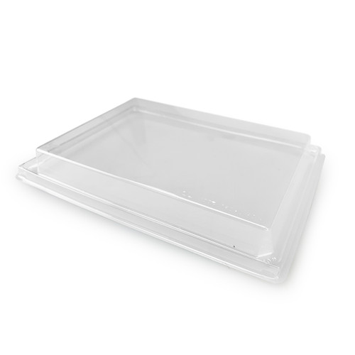 """Anti Fog PET Lids for Paper Take Out Sushi Tray 8.1"""" x 7.2"""" (300/case)"""