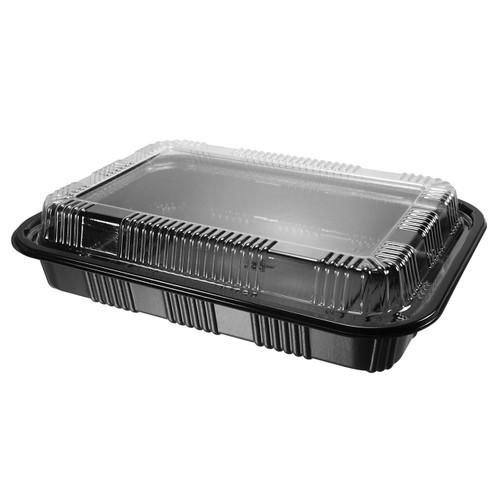 """STI-825 Black Take Out Sushi Tray 9.2"""" x 6.5"""" (300/case)"""