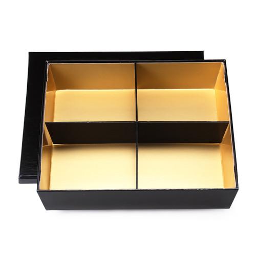 "Oribe Paper 4-Compartment Takeout Bento Box Black x Gold 9.1"" x9.1"" (60 sets/case)"