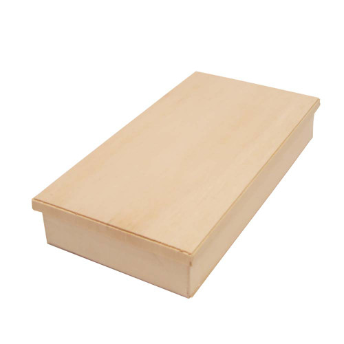 """[NEW] Wooden Rectangular Takeout Bento Box 9"""" x 4.75"""" (25/pack) - W/ Lid"""