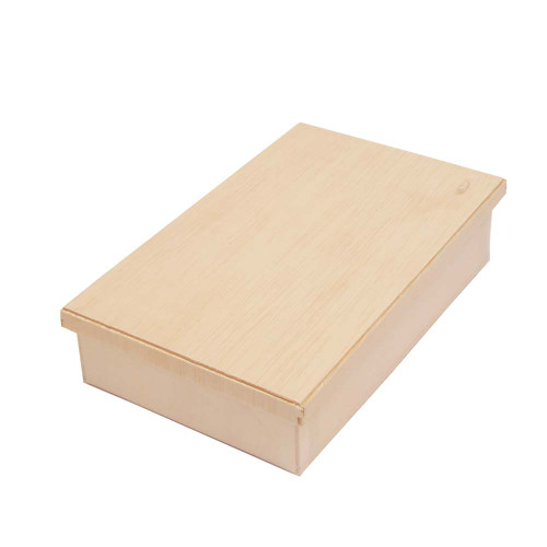 """Wooden Rectangular Takeout Bento Box Small 6.7"""" x 4.3"""" (25/pack) - W/ Lid"""