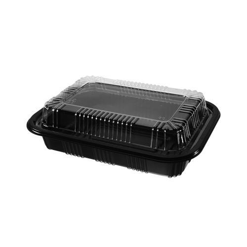 "STI-810 PS Black Takeout Sushi Tray 7.25"" x 5"" (500/case)"