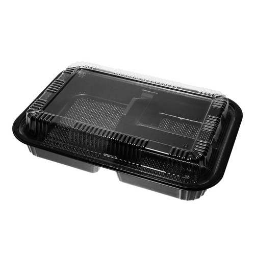 "[Clearance] STI-303 PP Black Takeout 3-Compartment Bento Box 9.5"" x 7.2"" (400/case)"