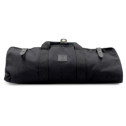 [NEW] Black Waxed Canvas 8 Slots Knife Storage Bag with Shoulder Strap