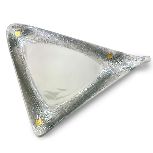 """[Clearance] Luster Gray Triangle Appetizer Plate 9.84"""" x 6.5"""""""