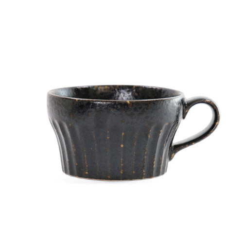"""[NEW] Black Kessho Soup Cup with Handle Shaved Design 11 fl oz / 4.2"""" dia"""