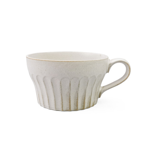 """[NEW] Kobiki Ivory Soup Cup with Handle Shaved Design 11 fl oz / 4.2"""" dia"""
