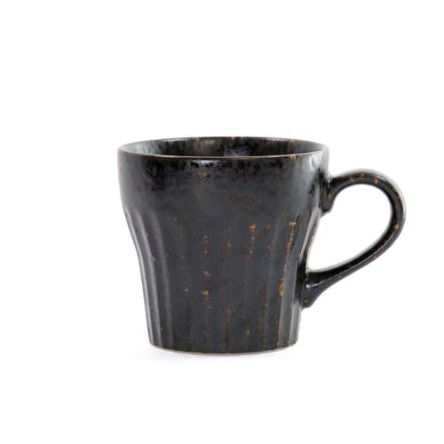 """[NEW] Black Kessho Coffee Mug Cup Shaved Desgin 10 fl oz / 3.5"""" dia"""