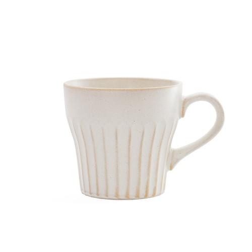 "[NEW] Kobiki Ivory Coffee Mug Cup Shaved Desgin 10 fl oz / 3.5"" dia"