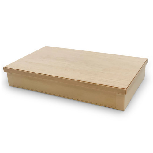"""[NEW] Wooden Rectangular Takeout Bento Box Large Wide 9"""" x 5.5"""" (25/pack) - W/ Lid"""