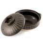 "Striped Donabe Earthenware Pot 131 fl oz / 10.5"" dia"