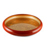 "Red Sushi Serving Tray (Sushi Oke) with Gold Interior 15.24"" dia"