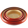 "Red Sushi Serving Tray (Sushi Oke) with Gold Interior 6.93"" dia"