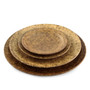 "[Clearance] Textured Medium Round Plate Earthy Brown Ceramic 8.39"" dia"
