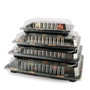"""TZ-020 Black Designed Take Out Sushi Tray 9.38"""" x 5.75"""" (50/pack)"""