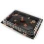 "TZ-025 Black Designed Take Out Sushi Tray 10"" x 7.25"" (504/case) - No Lids"