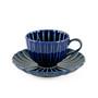 "Giyaman Daisy Glossy Blue Round Saucer Plate 5.75"" dia"