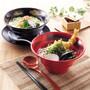 "Melamine Red Grainy Noodle Bowl 40.3 fl oz / 7.4"" dia with Black Brushstroke"