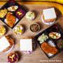 "Kokutan Paper Square Takeout Bento Box with 4-Compartment 9.5"" x 9.5"" (50 bento box sets)"