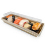 "Kraft Greaseproof Paper Take Out Sushi Tray 8.5"" x 3"" (400/case) - No Lids"