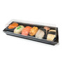 """Black Greaseproof Paper Take Out Sushi Tray 8.5"""" x 3"""" (400/case) - No Lids"""