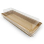 """Anti Fog PET Lids for Paper Take Out Sushi Tray 8.5"""" x 3"""" (400/case)"""